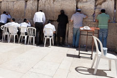Worshipers at the Western Wall in Jerusalem Royalty Free Stock Photo