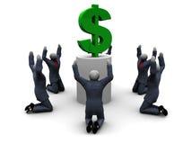 Worshiping A Dollar Royalty Free Stock Images