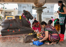 Worshiping Nandi at Sri Naheshwara in Bangalore. Royalty Free Stock Image