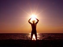 Worshiping the sun stock image