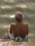 Worshipper on Ganga River Royalty Free Stock Photos