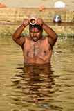 WORSHIPPER ON GANGA RIVER Stock Photos