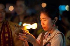 Worshipper praying. Hindu Festival at the Sri Maha Mariamman Indian Temple on Silom Road, Bangkok, Thailand Royalty Free Stock Images