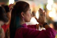 Worshipper praying. Hindu Festival at the Sri Maha Mariamman Indian Temple on Silom Road, Bangkok, Thailand Royalty Free Stock Photo