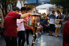 Worshippers at Erawan Shrine Stock Images