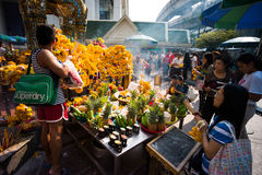 Worshippers at Erawan Shrine Stock Photography