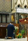 Worshippers gather to look at the relics of Blessed Aloysius Stepinac in Zagreb cathedral Stock Image
