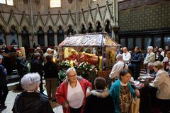 Worshippers gather to look at the relics of Blessed Aloysius Stepinac in Zagreb cathedral,. Zagreb, Croatia on April 14, 2016 royalty free stock photo