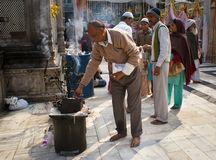 Worshippers in a muslim shrine in New Delhi Stock Photography