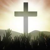 Worshippers van Christian bij het Kruis stock illustratie