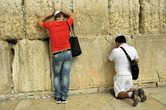 Worshippers at the Wailing Wall, Jerusalem Royalty Free Stock Photography