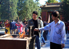 Worshippers at Yonghegong Lama Temple Stock Photos