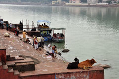 Worshipping by the Ganges river in Rishikesh, India Stock Images