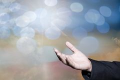 Worshipping God concept,people open empty hands with palms up stock images