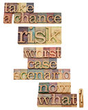 Worst case scenario - take risk. Worst case scenario - take a chance and risk encouragement - a collage of isolated text in vintage wood letterpress type stock photography
