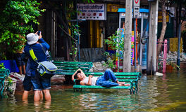 The worst flooding in Bangkok's Chinatown stock images