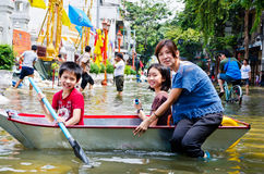 The worst flooding in Bangkok's Chinatown Royalty Free Stock Photography