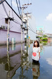 The worst flooding in Jaransanitwong Royalty Free Stock Photography