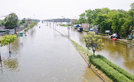 The worst flooding in  Nakhon Pathom, Thailand Royalty Free Stock Photography
