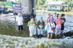 The worst flooding in  Nakhon Pathom, Thailand Royalty Free Stock Photo