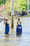 The worst flooding in  Nakhon Pathom, Thailand Stock Photos