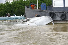 Worst flooding on record across the Balkans in Serbia. SERBIA, SREMSKA MITROVICA - MAY 17: Camping house sail on the river Sava. The water level of Sava River Stock Images