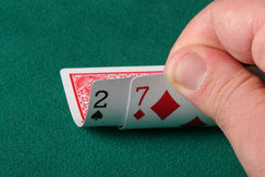 The worst hand in texas holdem poker. 2 and 7 off suit - worst possible starting hand in texas holdem poker Royalty Free Stock Image