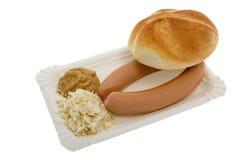 Worst met mosterd, mierikswortel en gebakjes Royalty-vrije Stock Afbeelding