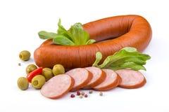 Worst, olijven en salade Royalty-vrije Stock Afbeelding