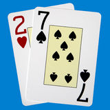 Worst Poker Hand. Two of Hearts and Seven of Spades Royalty Free Stock Image