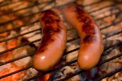 Worsten bij de grill Stock Afbeeldingen