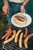 Worsten bij de grill van de Barbecue Stock Fotografie