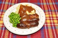 Worsten en Fijngestampte Aardappel Stock Foto