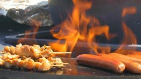 Worsten en vlees op brand stock footage