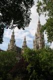 Worstje Rathaus door bomen, Oostenrijk wordt ontworpen dat Royalty-vrije Stock Foto