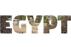 Wort ÄGYPTEN über symbolischen Plätzen Lizenzfreie Stockfotografie