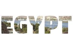 Wort ÄGYPTEN über symbolischen Plätzen Stockfotos