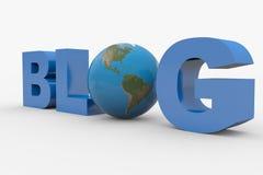 Wort 3D Blog mit der Erdekugel, die Zeichen O ersetzt Stockfotografie