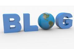 Wort 3D Blog mit der Erdekugel, die Zeichen O ersetzt Lizenzfreie Stockfotos