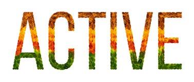 Wort Active wird mit lokalisiertem Hintergrund der Blätter Weiß, Fahne für den Druck geschrieben, kreative Illustration von gefär Lizenzfreies Stockfoto