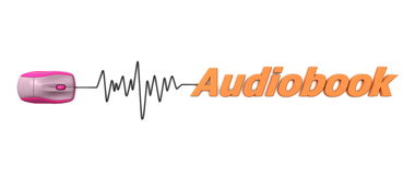 Wort Audiobook mit rosafarbener Maus - Orange Stockfotografie