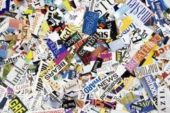 Wort-Ausschnitte vom Zeitschriften-Hintergrund Stockfotos