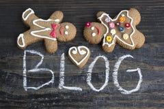 Wort-Blog mit Lebkuchen-Paaren Lizenzfreie Stockbilder