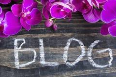 Wort-Blog mit rosa Orchidee Lizenzfreies Stockfoto