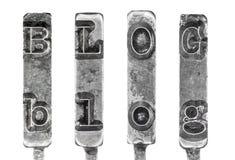 Wort BLOG in Weinlese-Schreibmaschine Typebars lokalisiert  Stockbild