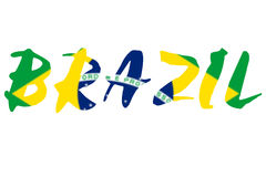 Wort BRASILIEN über Staatsflagge von Brasilien Lizenzfreie Stockfotografie