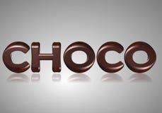 Wort choco Stockfotografie