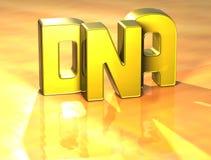 Wort 3D DNA auf gelbem Hintergrund Stockfotos