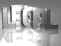 Wort 3D legal auf silbernem Hintergrund Stock Abbildung