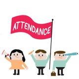 Wort, das Text Anwesenheit schreibt Geschäftskonzept für das Gehen, an Platz oder Ereignis Zahl der Vertretung anwesend regelmäßi stock abbildung